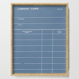 Library Card BSS 28 Negative Blue Serving Tray
