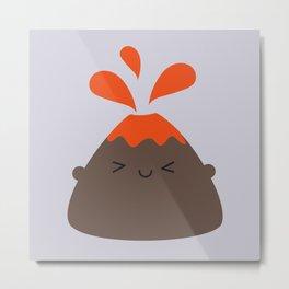 Happy Kawaii Volcano Metal Print