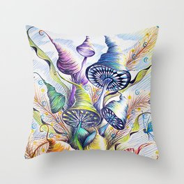 Wizard Mushrooms Throw Pillow