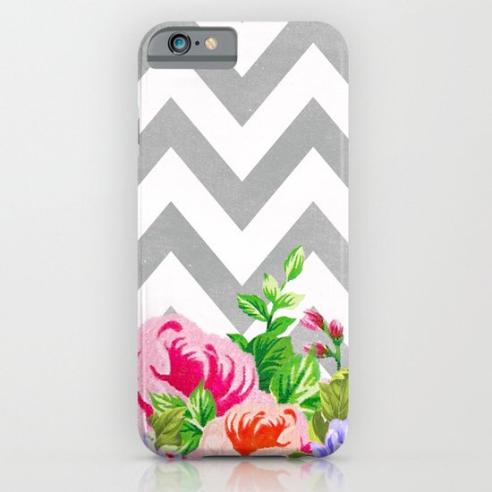 FLORAL GRAY CHEVRON iPhone & iPod Case
