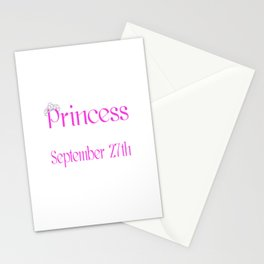 A Princess Is Born On September 27th Funny Birthday Stationery Cards