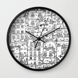 Cats and the city.first edition Wall Clock