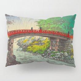 Vintage Japanese Woodblock Print Garden Red Bridge River Rapids Beautiful Green Forest Landscape Pillow Sham