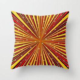 Red Yellow Black And Rays Background With Stars Throw Pillow