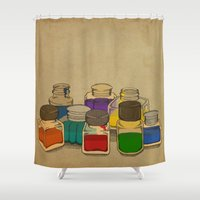 ink Shower Curtains featuring Ink by Megs stuff