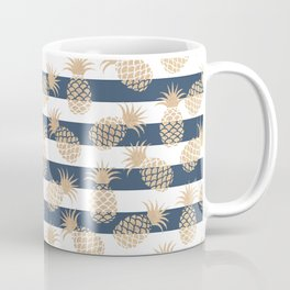 Nautical modern navy blue white stripes blush beige pineapple Coffee Mug