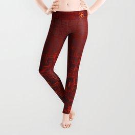 Adventure Black on Red Leggings