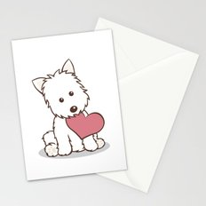 Westie Dog with Love Illustration Stationery Cards