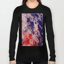 Hot And Cold - Textured Abstract In Blue, Red And Black Long Sleeve T-shirt