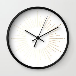 Sunburst Gold Copper Bronze on White Wall Clock