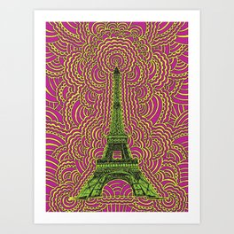 Eiffel Tower Drawing Meditation - Green/Pink/Yellow Art Print