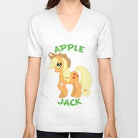 mlp V-neck T-shirts featuring MLP FiM: Applejack by Yiji