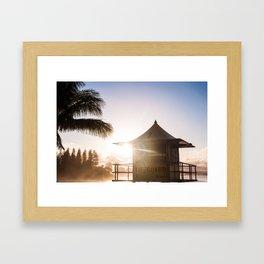 Sunset at the lifeguard tower Framed Art Print