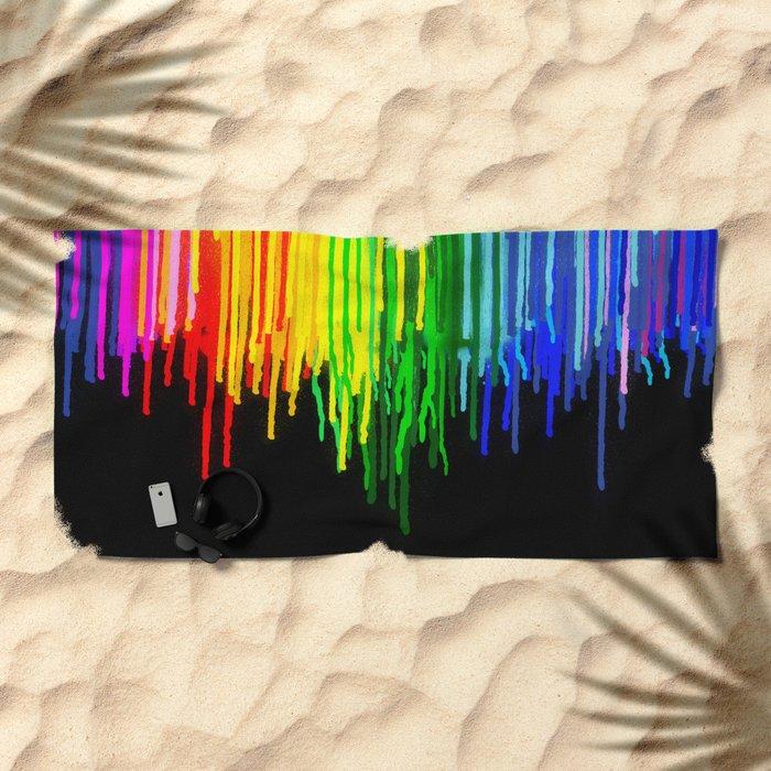 Rainbow Paint Drops on Black Beach Towel