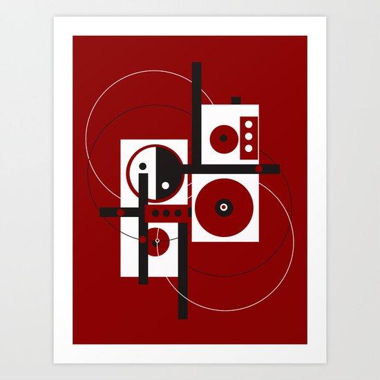 Geometric/Red-White-Black 2 Art Print