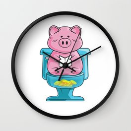 Cute & Funny Pig On Toilet Piggy Bank Wall Clock