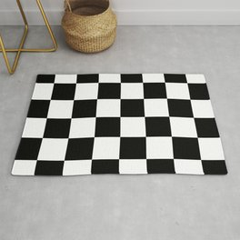 Large Checkered - White and Black Rug