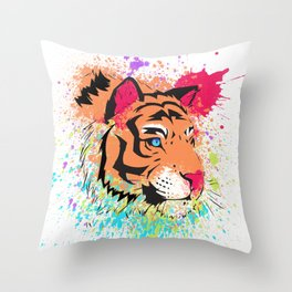SPLASH OF TIGER. Throw Pillow