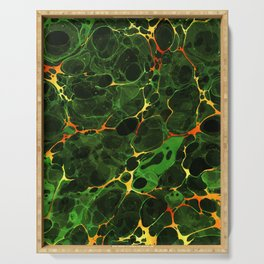 Abstract Painting - Marbling Art 08- Fluid Painting - Green, Gold Abstract - Modern Abstract Serving Tray
