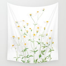 white black-jack flowers watercolor painting  Wall Tapestry