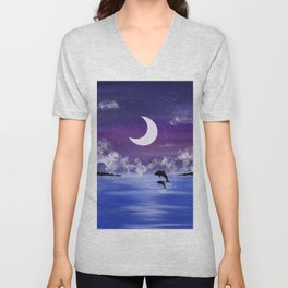 night time seascape with jumping dolphins Unisex V-Neck