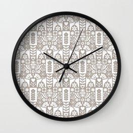 Swedish Folk Art - Warm Gray Wall Clock