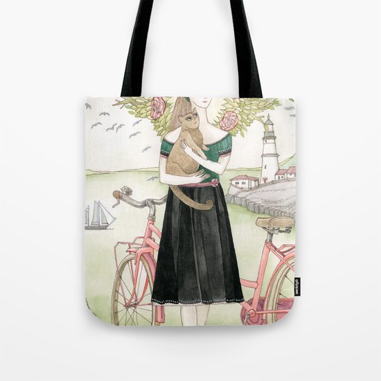 Girl and cat with pink bicycle Tote Bag