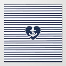 Modern navy blue white heart anchor nautical stripes Canvas Print