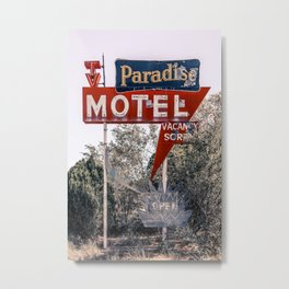 Abandoned Paradise Motel Vintage Neon Sign Route 66 Tucumcari New Mexico  Metal Print