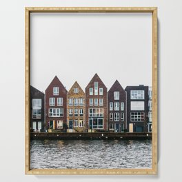 Iconic canal houses near Spaarne river in Haarlem in winter | Haarlem historical city, the Netherlands | Urban travel photography Art Print Serving Tray
