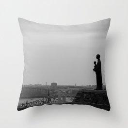 Budapest statue b&w Throw Pillow
