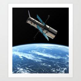 Hubble Space Telescope - Hubble Space Telescope over Earth Art Print