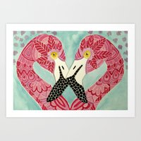 flamingos Art Prints featuring Flamingos  by ArtLovePassion
