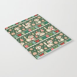 Striped Gingerbread Kitties (Green) Notebook