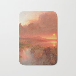Ecuadorian Andes at Sunset, Cotopaxi volcano plains landscape painting by Frederic Edwin Church Bath Mat