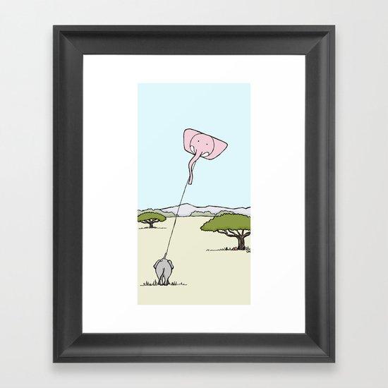 When An Elephant Flies a Kite Framed Art Print