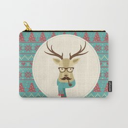 Rustic Christmas Reindeer Hipster Carry-All Pouch