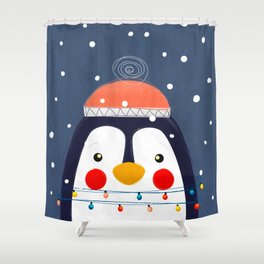 Christmas Penguin with fairy lights no2 Shower Curtain