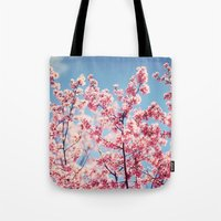 cherry blossoms Tote Bags featuring Cherry Blossoms by Kameron Elisabeth