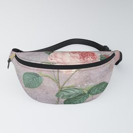 Vintage Rose - on pink grunge background  - Roses and flowers Fanny Pack