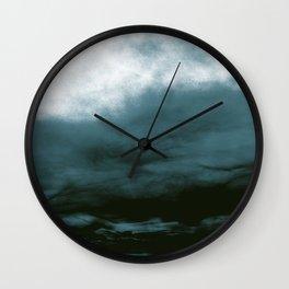 WHITE & BLUE & BLACK TOUCHING #1 #abstract #decor #art #society6 Wall Clock