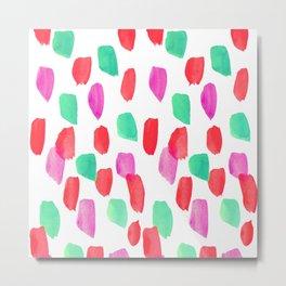 Bright Red,Pink,Mint Watercolor Dash Line Metal Print