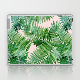 Green palm leaves on a light pink background. Laptop & iPad Skin