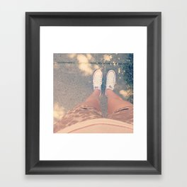 white converse Framed Art Print