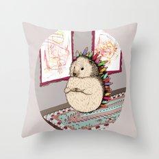 Hedgehog Artist Throw Pillow
