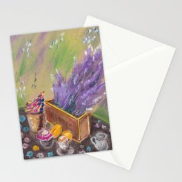 Still life. Breakfast with lavender flower Stationery Cards