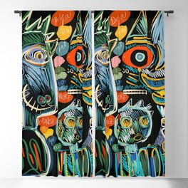 Graffiti Art Creatures Rainbow Colors and Words  Blackout Curtain