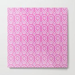 Garden Flowers Pattern Pink Metal Print