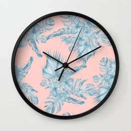 Dreaming of Hawaii Pale Teal Blue on Millennial Pink Wall Clock