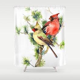 Cardinal Birds on Pine Tree Shower Curtain